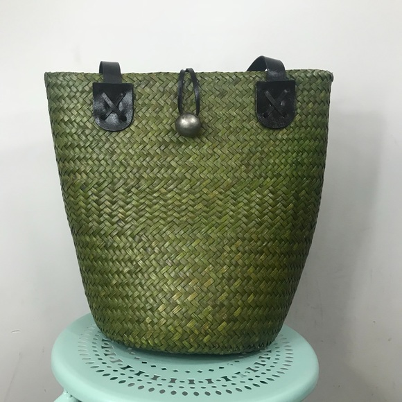 Handbags - VINTAGE | Green Straw Bag Lined